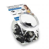 Unità Jar display con 10 cavi Lightning Apple, 10 cavi USB-C e 10 cavi micro USB